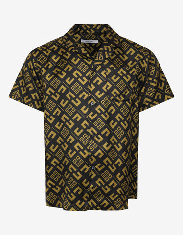 Givenchy All-Over 4G Logo Silk Bowling Shirt