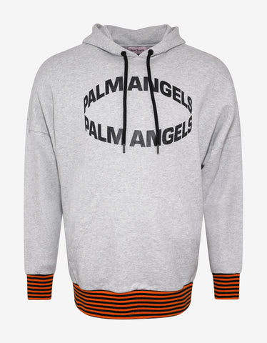Palm Angels Grey Melange Logo Oversized Hoodie
