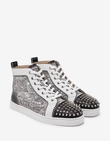 Christian Louboutin Lou Spikes Orlato Flat Caligraf High Top Trainers