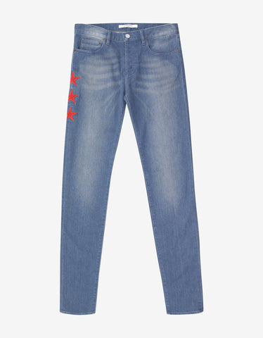 Givenchy Blue Star Embroidery Rico Fit Jeans