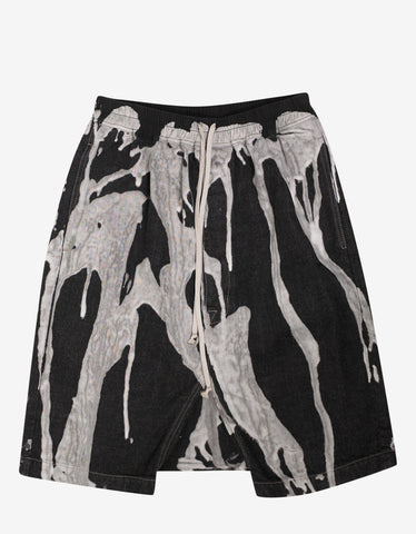 Rick Owens Pods Bleach Vomit Denim Shorts