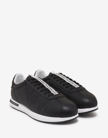 Emporio Armani Black Eagle Embossed Leather Trainers