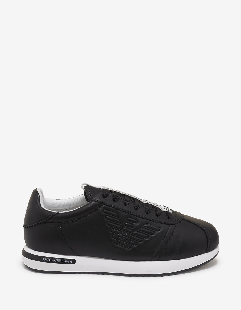 Black Eagle Embossed Leather Trainers