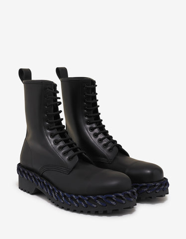 Balenciaga Black Leather Boots with Lacing Detail