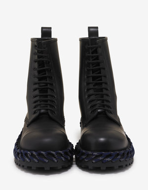 Black Leather Boots with Lacing Detail