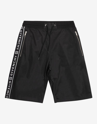 Givenchy Black 4G Logo Band Sweat Shorts