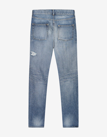 Saint Laurent Wash Blue Distressed Slim Jeans