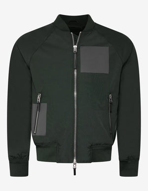 Green Cotton-Blend Bomber Jacket