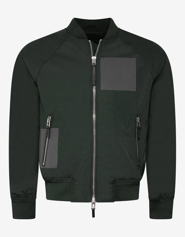 Striped Nylon Metal Green Bomber Jacket