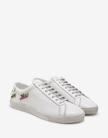 Saint Laurent White Leather Andy Trainers with Pins