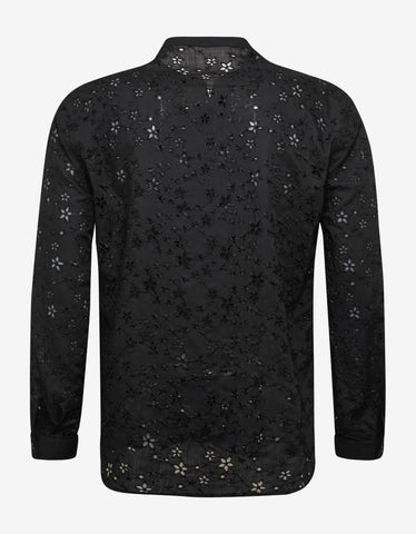 Saint Laurent Black Wool Muslin Shirt with Star Embroidery