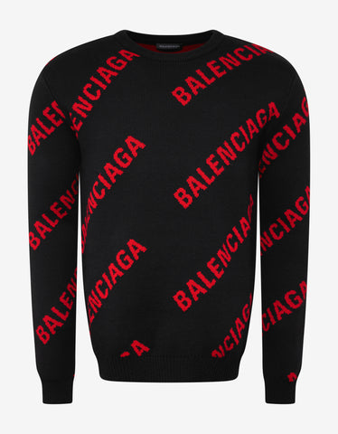 Balenciaga Black & Red Jacquard Logo Sweater