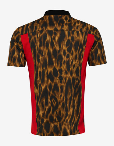 Versace Abstract Leopard Print Polo T-Shirt