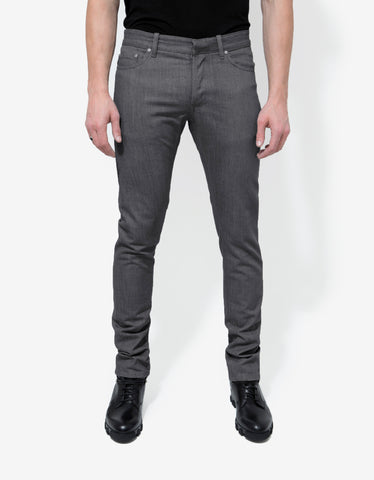 Balenciaga Grey Coated Panel Denim Jeans