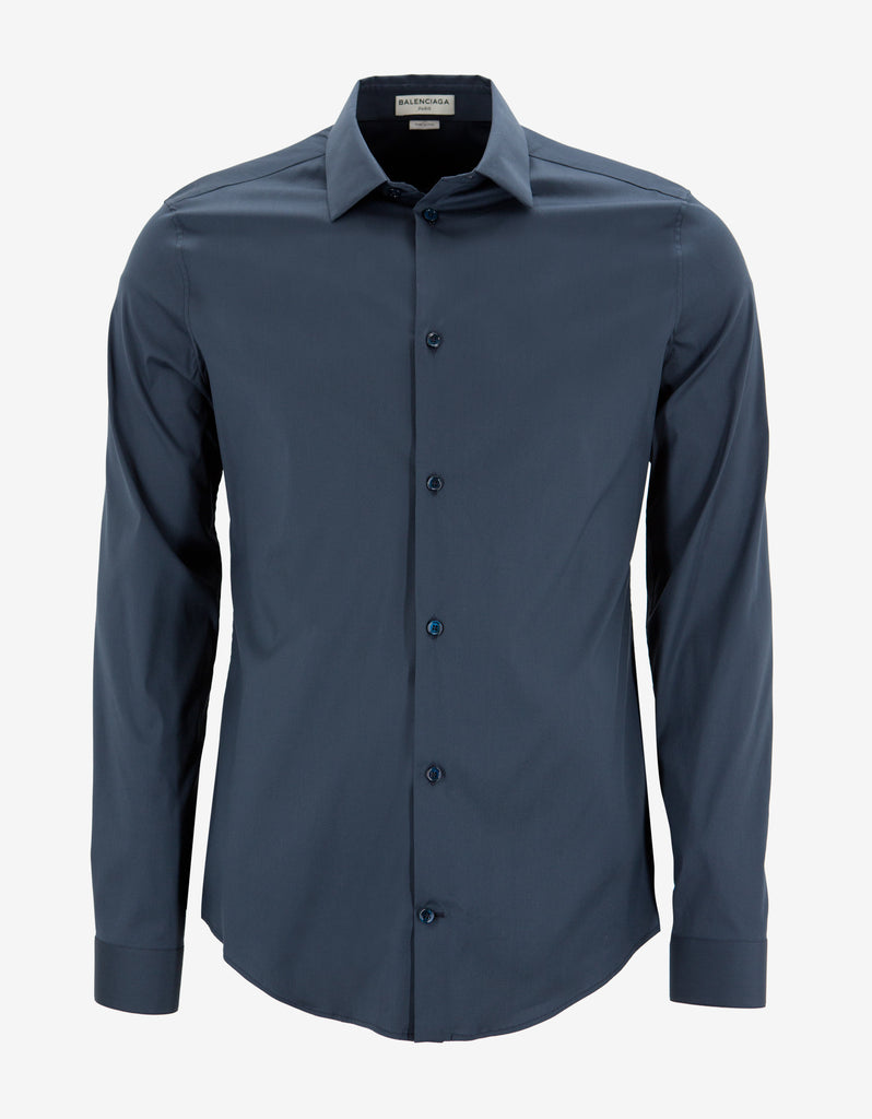 Blue Stretch Cotton Slim Fit Shirt