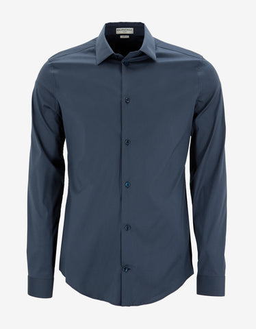 Balenciaga Blue Stretch Cotton Slim Fit Shirt