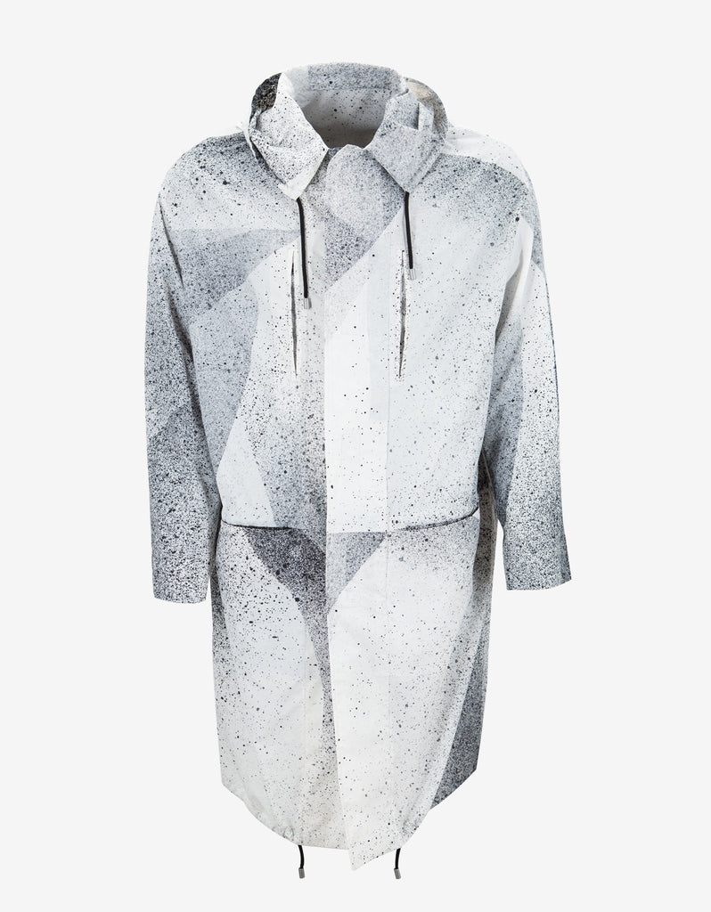 White Spray Paint Effect Lightweight Parka