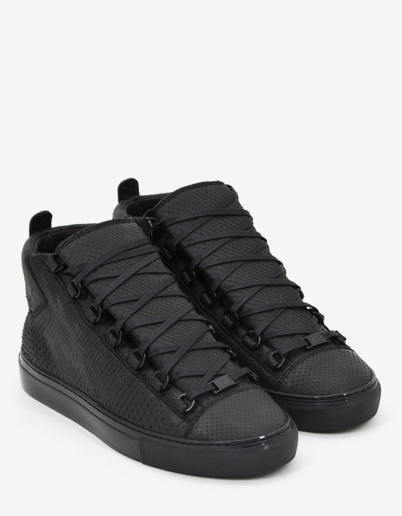 Matte Black Python Skin High Top Trainers