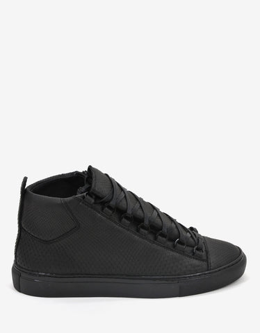 Balenciaga Matte Black Python Skin High Top Trainers