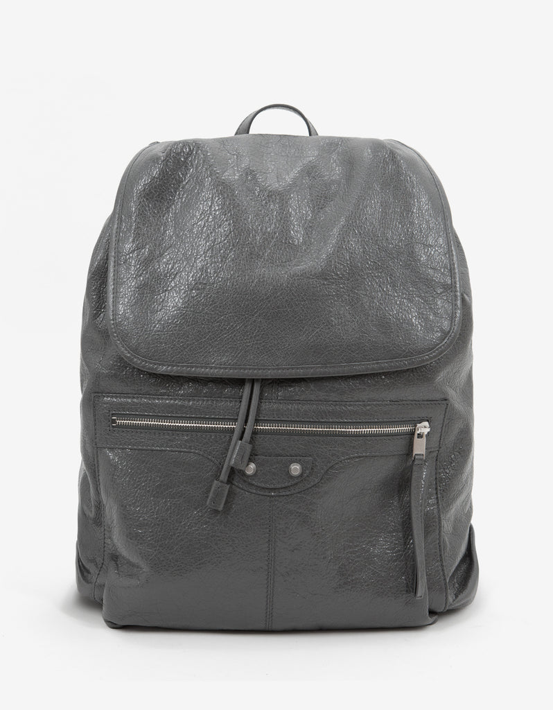 Grey Arena Leather Backpack