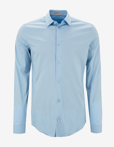 Balenciaga Light Blue Stretch Cotton Slim Fit Shirt