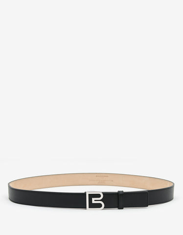 Balenciaga Black Leather 'B' Buckle Belt