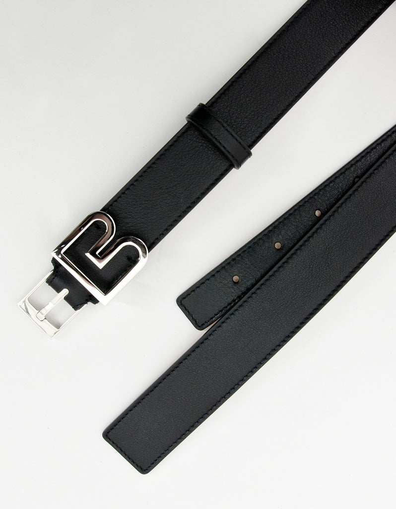 Black Leather 'B' Buckle Belt