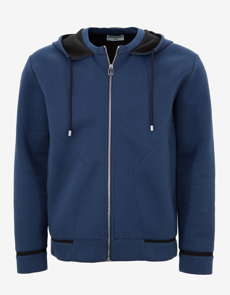 Blue Jersey Cotton Hooded Sweatshirt