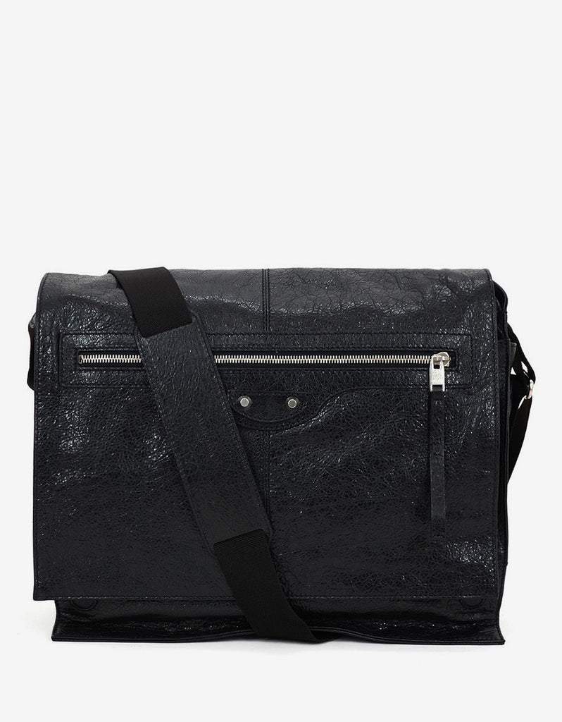 Black Arena Leather Messenger Bag