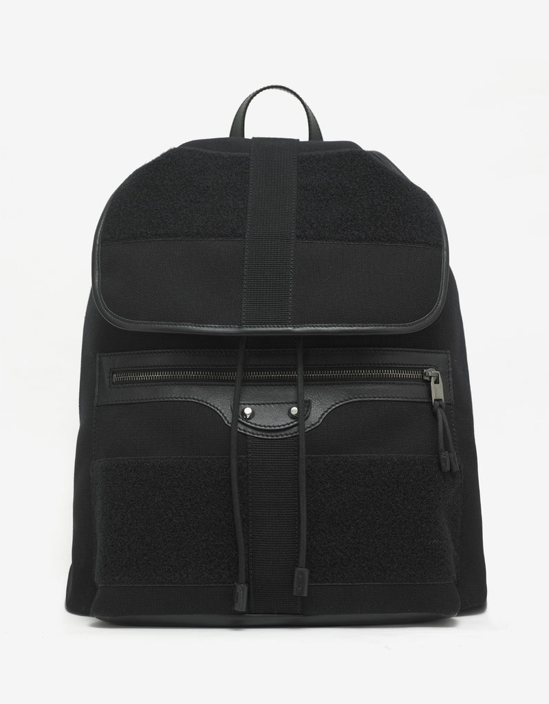 Black Leather & Canvas Traveller Backpack