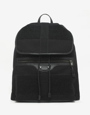 Balenciaga Black Leather & Canvas Traveller Backpack