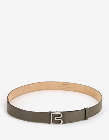 Balenciaga Khaki Leather 'B' Buckle Belt