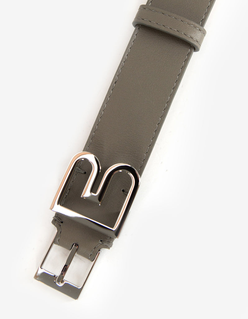 Khaki Leather 'B' Buckle Belt