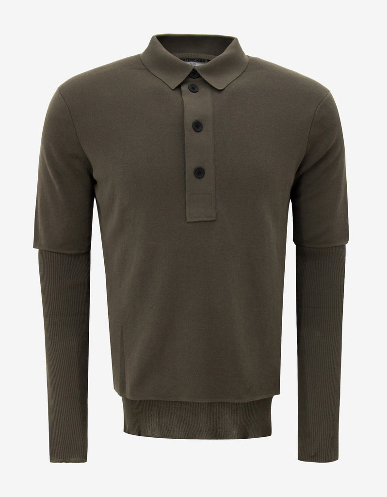 Khaki Polo T-Shirt with Ribbed Inserts