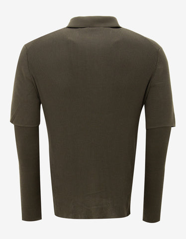 Balenciaga Khaki Polo T-Shirt with Ribbed Inserts