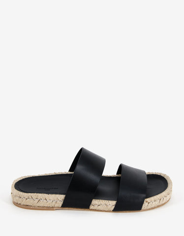 Balenciaga Black Leather Espadrille Sandals