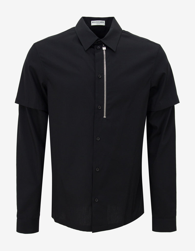 Black Shirt with Removable Sleeves