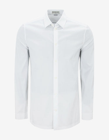 Balenciaga White Straight Hem Slim Fit Shirt