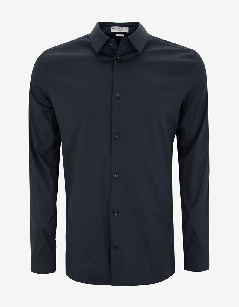 Dark Blue Straight Hem Slim Fit Shirt