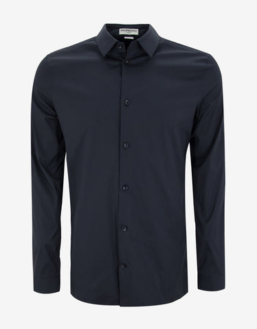 Balenciaga Dark Blue Straight Hem Slim Fit Shirt