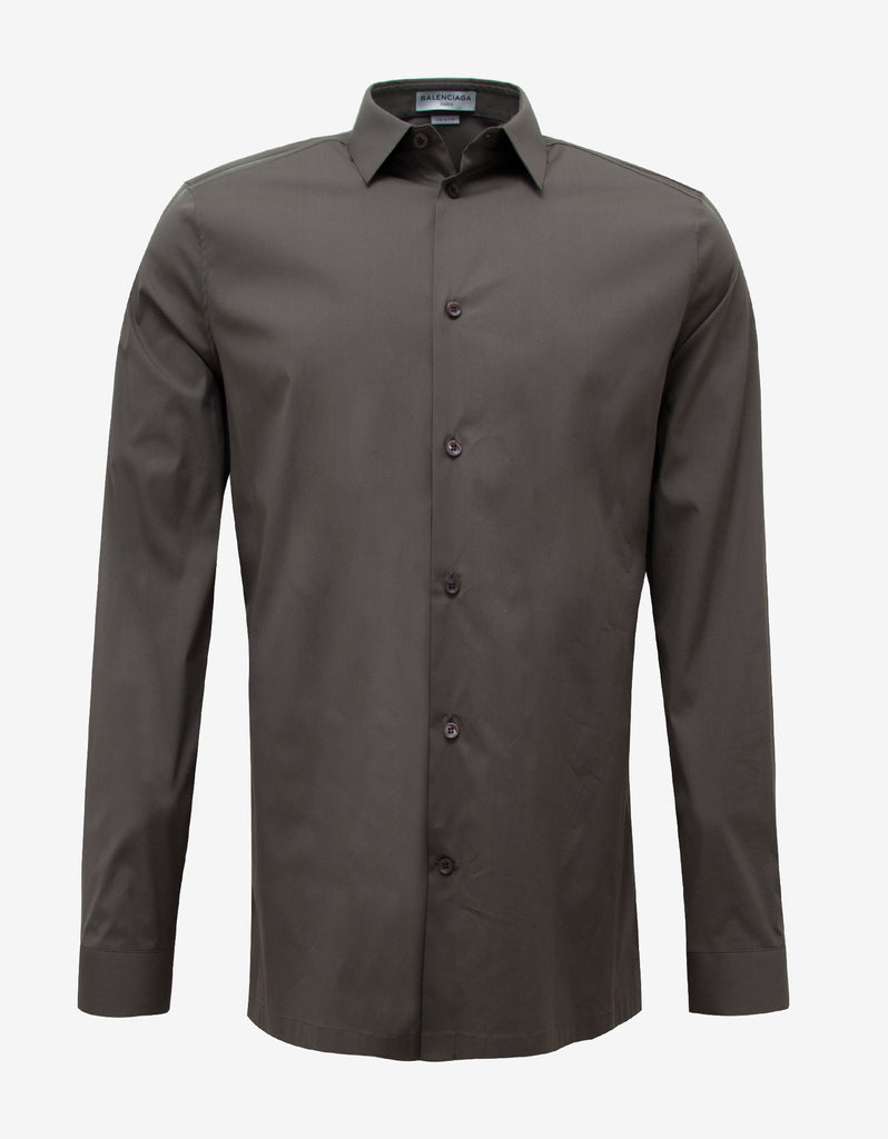 Khaki Straight Hem Slim Fit Shirt