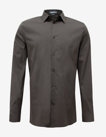 Balenciaga Khaki Straight Hem Slim Fit Shirt