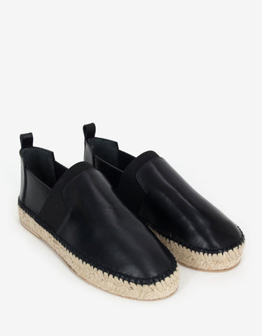 Balenciaga Black Leather Espadrilles