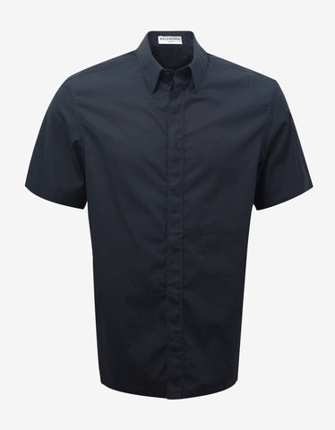 Balenciaga Dark Blue Straight Hem Short Sleeve Shirt