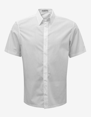 Balenciaga White Straight Hem Short Sleeve Shirt