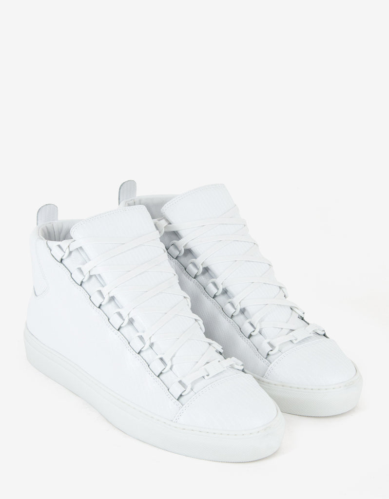 White Carbon Fibre Effect High Top Trainers