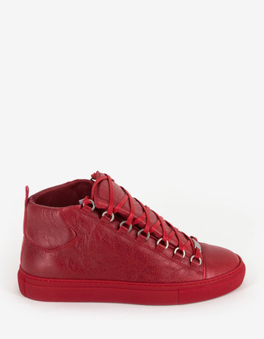 Balenciaga Rouge Grenade Arena Opaque High Top Trainers