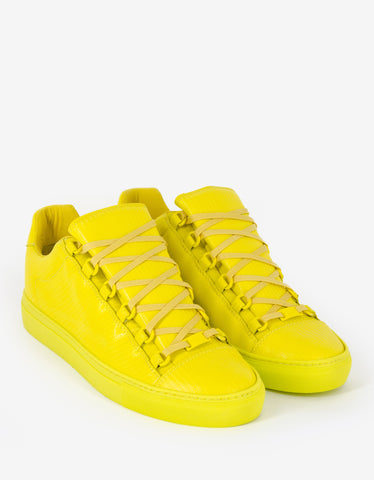 Balenciaga Yellow Carbon Fibre Effect Low Top Trainers