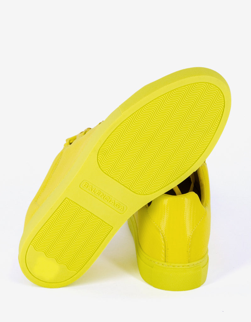 Yellow Carbon Fibre Effect Low Top Trainers