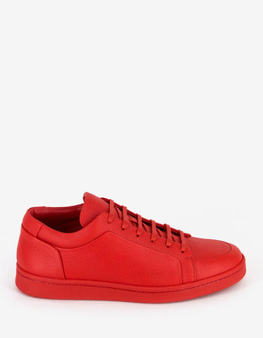 Balenciaga Rouge Fraise Grain Leather Low Trainers